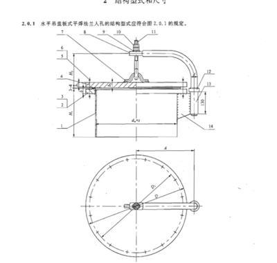 HG/T21522-2014字体吊盖板式平焊法兰水平,Hcad中繁体人孔图片