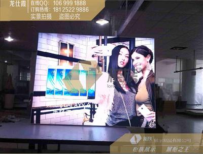 一个正方体广告灯箱棱长是80厘米框架由铝金条制成各个面有灯箱布围图片