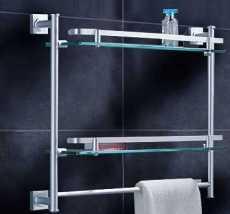 太空鋁玻璃置物架-單層雙層玻璃置物架-角形