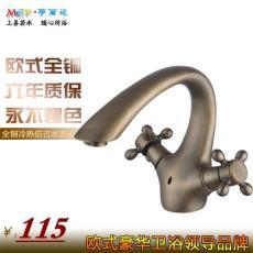 专业供应 全铜水龙头 螺旋式仿古面盆水龙头
