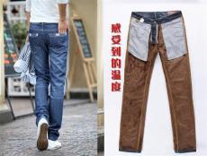 NZ2男装新款商务休闲修身加绒牛仔裤